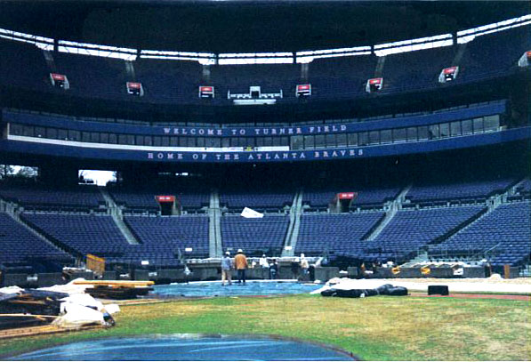 Baseball Field Installation for Atlanta Braves at Turner Field | Baseball field installer | Power Plus Excavating