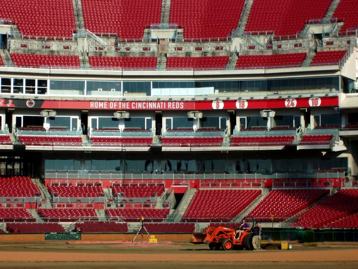 Baseball Field Installation for the Cincinnati Reds professional baseball team - Professional baseball field installer | Power Plus Excavating